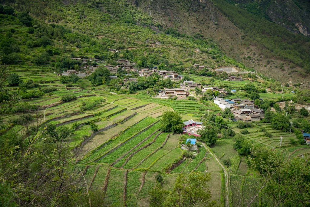 Naxi Village - View hiking down into the village from the trail