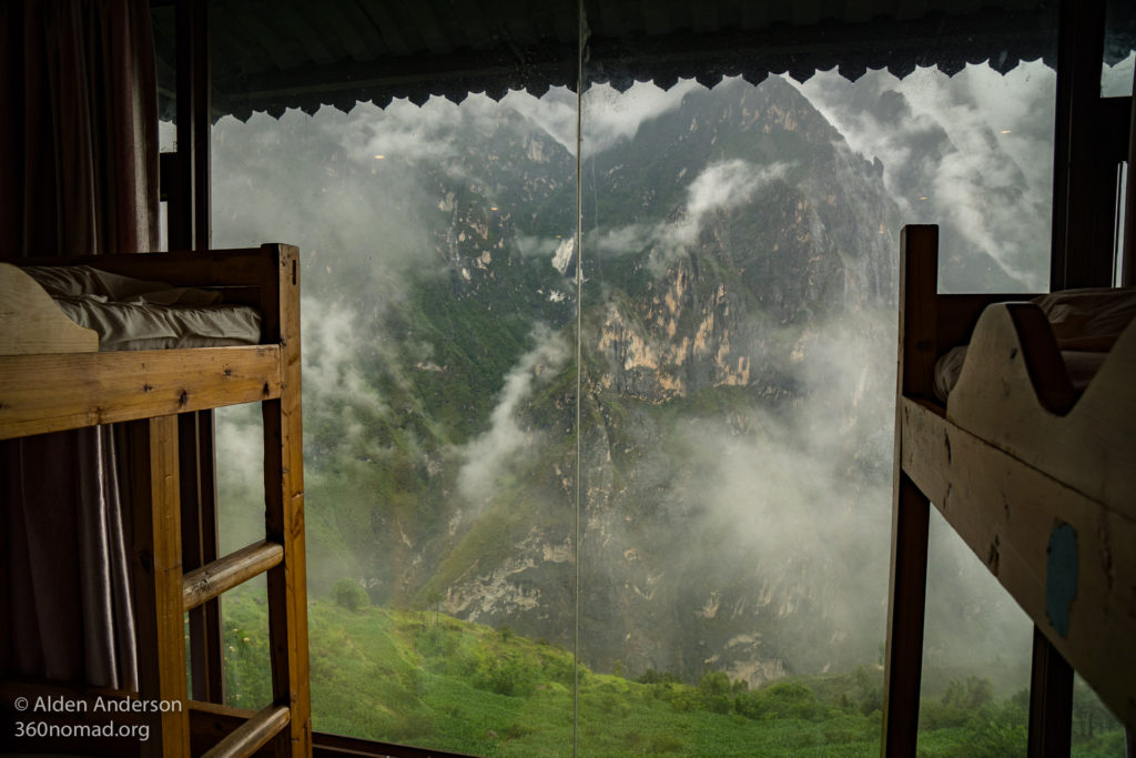 Halfway Guesthouse, view from the dorm. Wall window looking out on Tiger Leaping Gorge. One of the best views from a hostel!