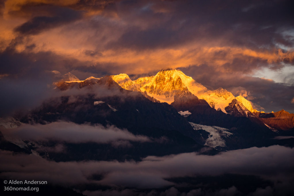 Sunrise over Meili Snow Mountains seen from Feilaisi