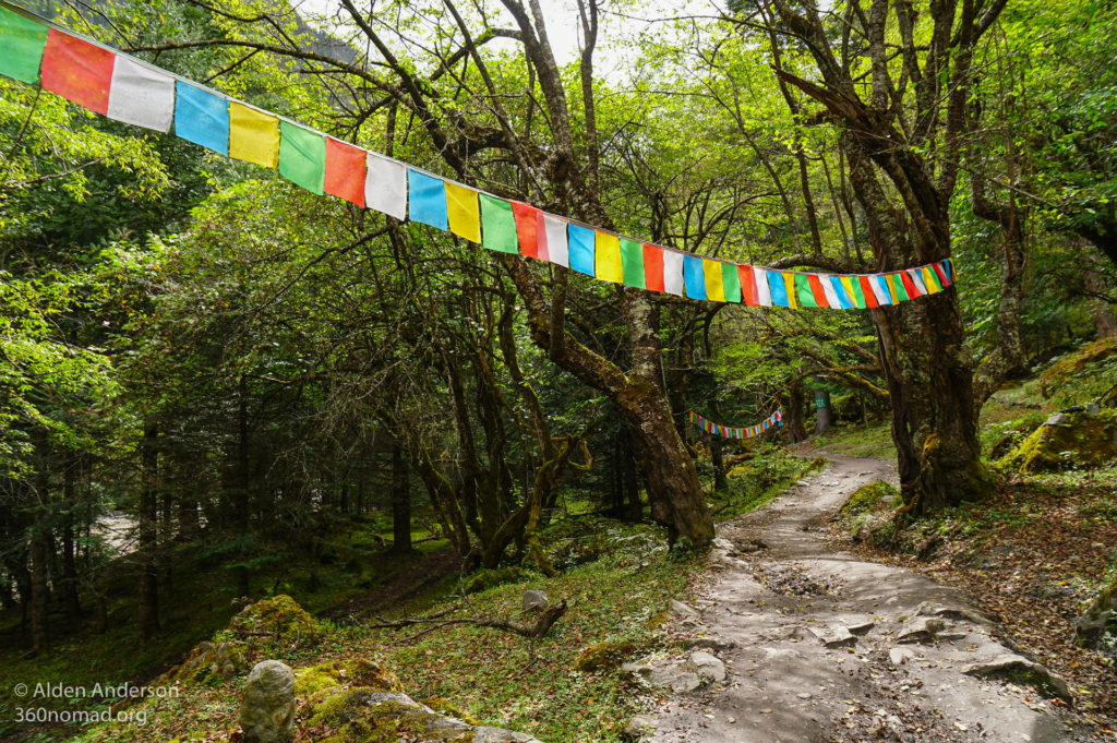 Prayer flags line the hiking trails