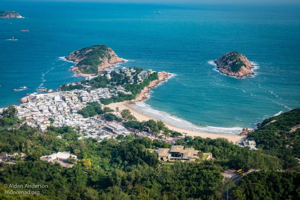 Shek O beach and Village from Dragon's Back