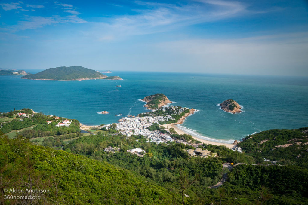 First view of Shek O from Dragon's Back ridge