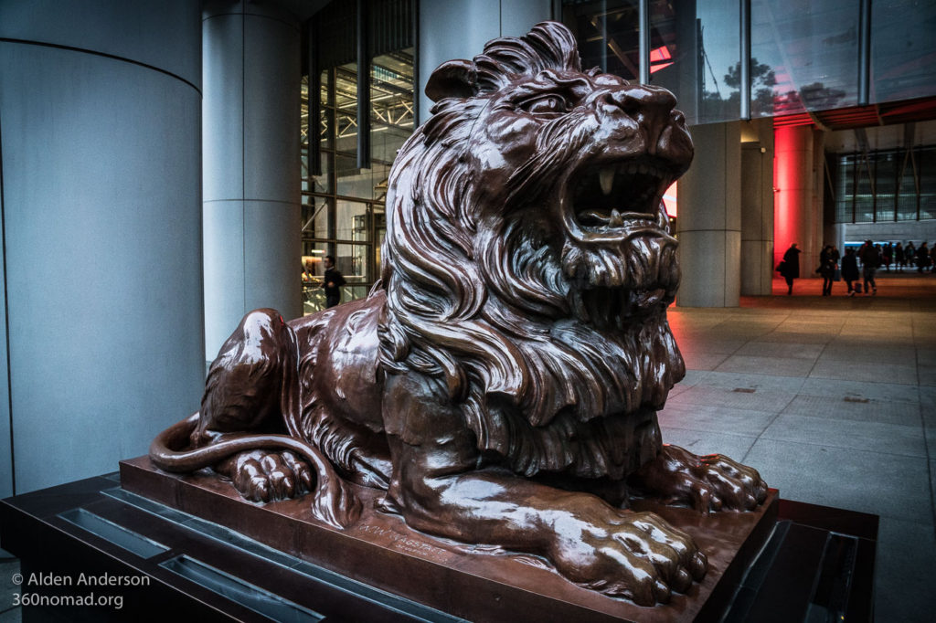 Roaring Stephen protecting the HSBC Headquarters