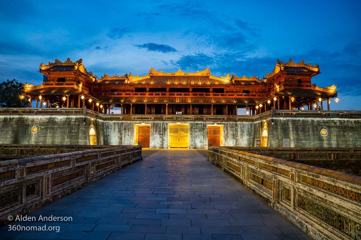 Meridian Gate at night. Hue Citadel