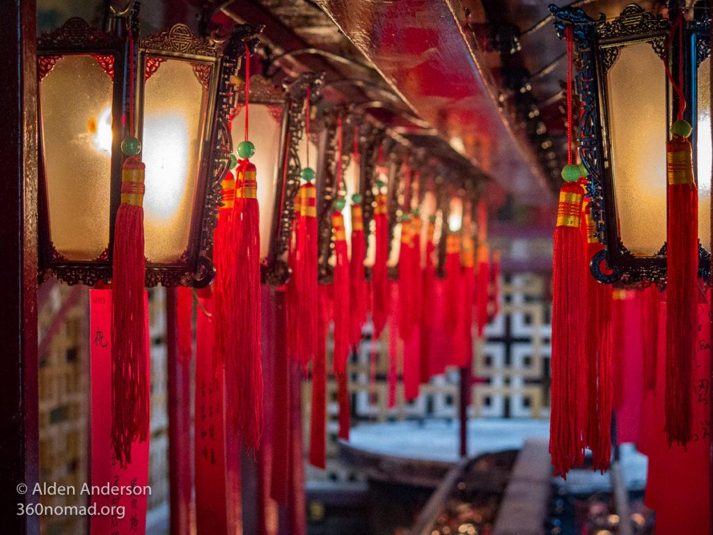 Lanterns inside Man Mo Temple Hong Kong