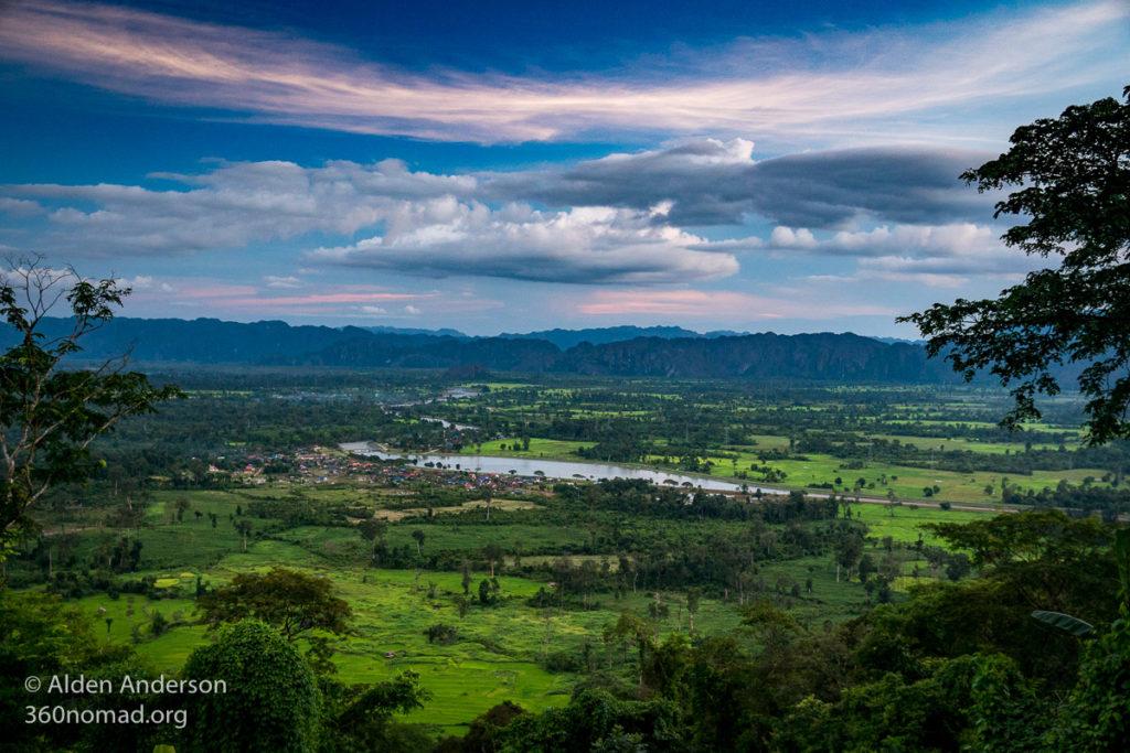 Sunset over Ban Nahin, Thakhek Loop