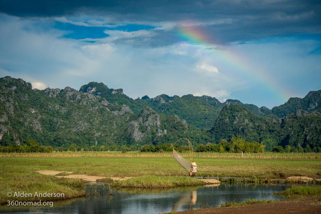 Lao woman fishing near Ban Nahin