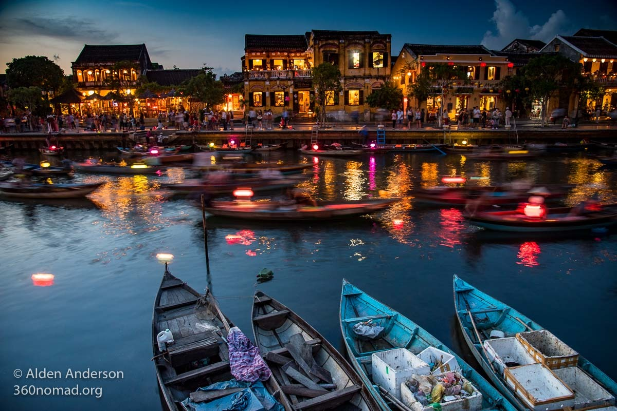 Hoi An Old Town at dusk from An Hoi Island